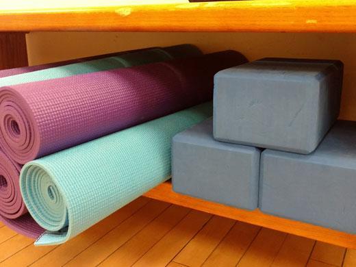 yoga mats and big blue blocks